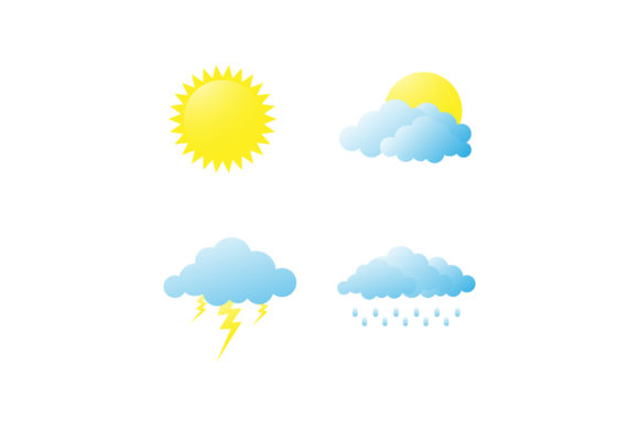 Print on Demand: Simple Weather Icon Set Graphic Icons By sabavector