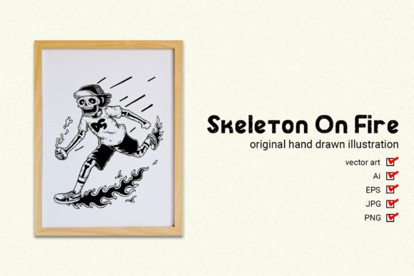 Skeleton on Fire Graphic By gumacreative