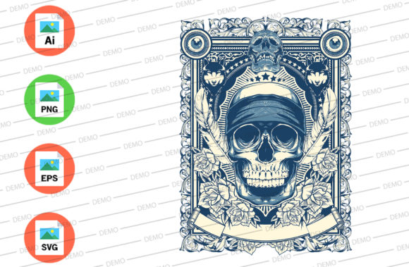 Skull Vintage Graphic Illustrations By Skull and Rose