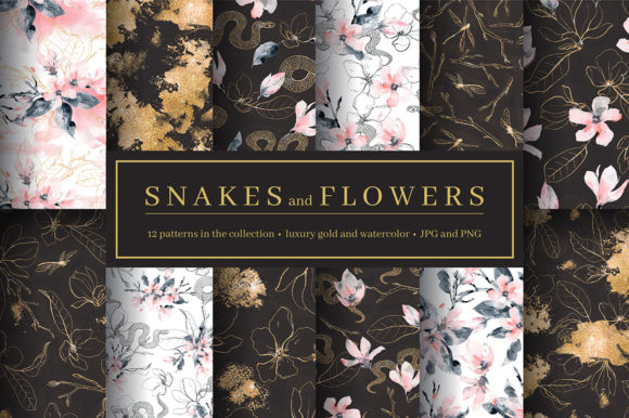 Print on Demand: Snakes and Flowers. Pattern Collection Graphic Patterns By dinkoobraz