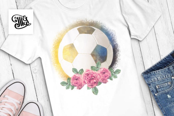 Soccer Ball with Roses | Watercolor Sublimation Graphic Crafts By Illustrator Guru