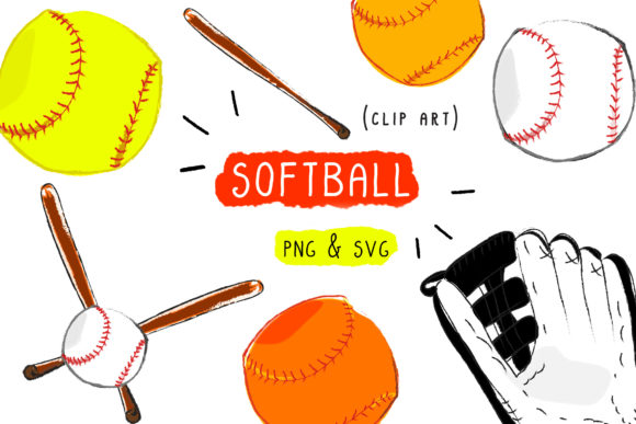Download Free Softball Clip Art Graphic By Inkclouddesign Creative Fabrica for Cricut Explore, Silhouette and other cutting machines.