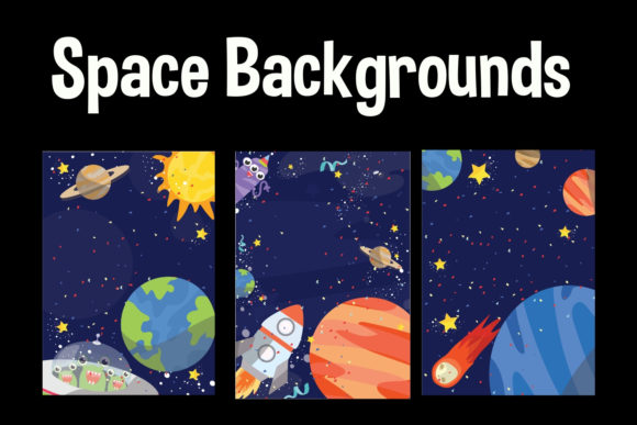 Print on Demand: Space Background Graphic Illustrations By Party With Unicorns