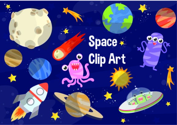 Print on Demand: Space Clip Art Graphic Illustrations By Party With Unicorns