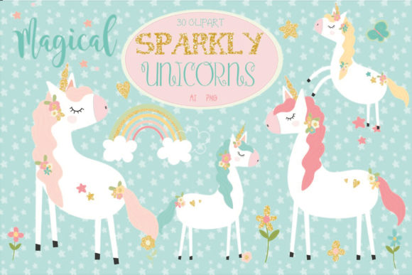 Download Free Sparkly Unicorns Graphic By Poppymoondesign Creative Fabrica for Cricut Explore, Silhouette and other cutting machines.