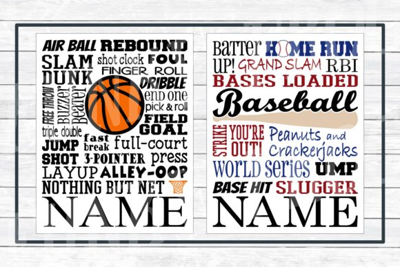 Download Free Sports Subway Art Design Bundle Graphic By for Cricut Explore, Silhouette and other cutting machines.