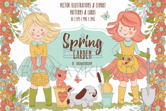 Spring Garden Illustration Set Graphic Illustrations By FARAWAYKINGDOM