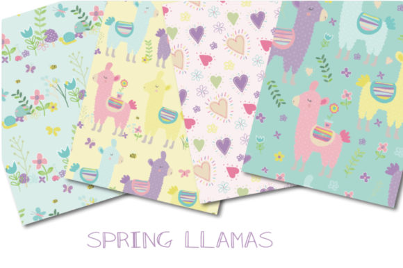 Download Free Spring Llamas Paper Graphic By Poppymoondesign Creative Fabrica for Cricut Explore, Silhouette and other cutting machines.