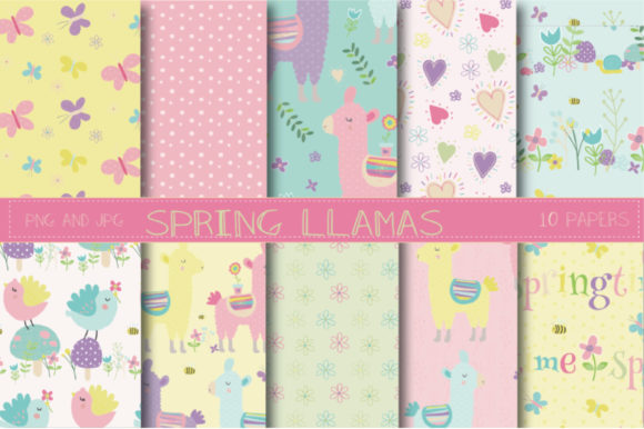 Print on Demand: Spring Llamas Paper Graphic Patterns By poppymoondesign