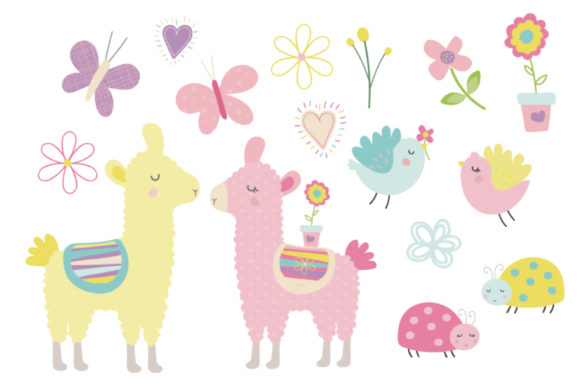 Download Free Spring Llamas Graphic By Poppymoondesign Creative Fabrica for Cricut Explore, Silhouette and other cutting machines.