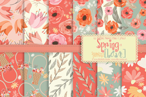 Print on Demand: Spring Love 01 - Peach & Mint - Seamless Pattern Designs and Digital Papers Graphic Patterns By Michelle Alzola