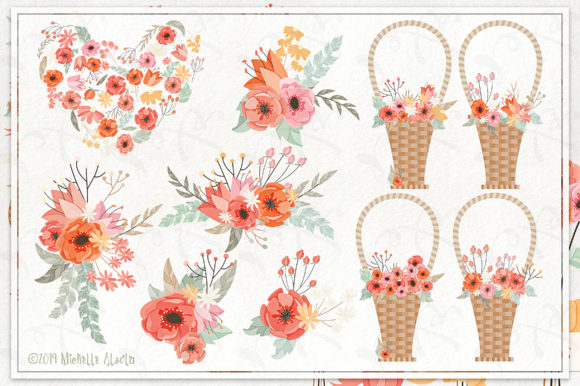 Print on Demand: Spring Love 01 - Peach and Mint Vector Clipart Graphic Illustrations By Michelle Alzola - Image 2