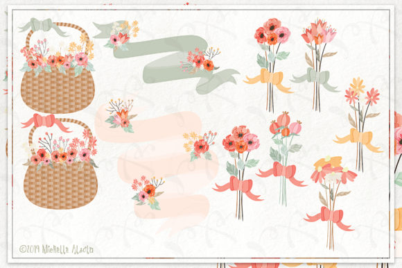 Print on Demand: Spring Love 01 - Peach and Mint Vector Clipart Graphic Illustrations By Michelle Alzola - Image 3