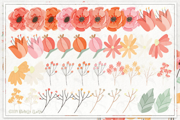 Print on Demand: Spring Love 01 - Peach and Mint Vector Clipart Graphic Illustrations By Michelle Alzola - Image 4