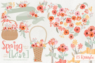 Spring Love 01 - Peach and Mint Vector Clipart Graphic By Michelle Alzola