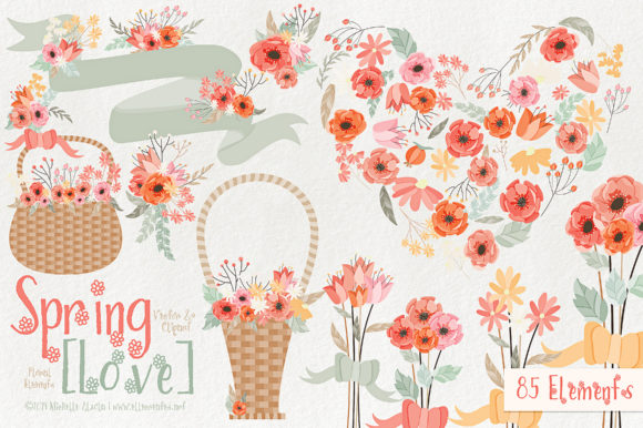 Print on Demand: Spring Love 01 - Peach and Mint Vector Clipart Graphic Illustrations By Michelle Alzola - Image 1