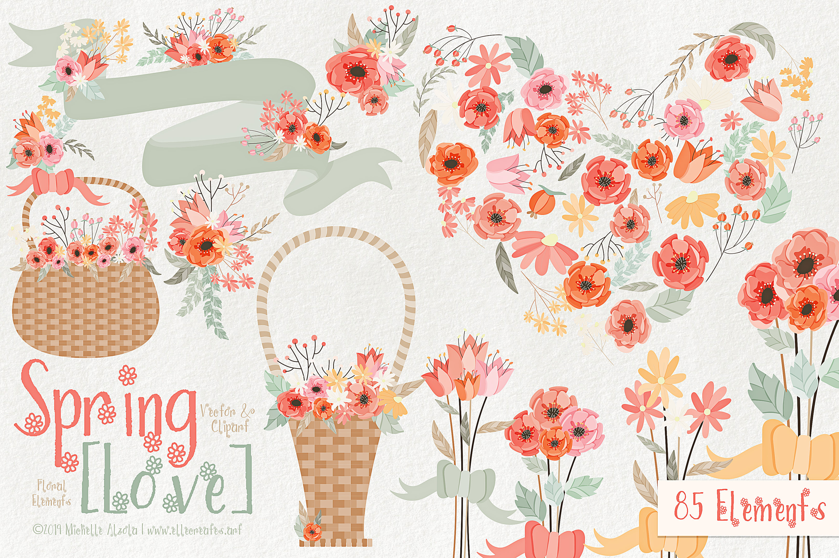 Download Free Spring Love 01 Peach And Mint Vector Clipart Graphic By for Cricut Explore, Silhouette and other cutting machines.