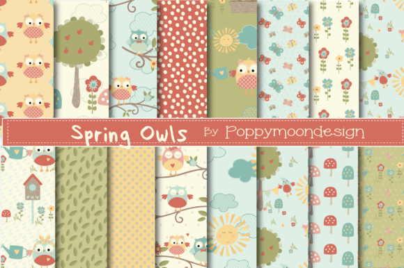 Print on Demand: Spring Owls Paper Graphic Patterns By poppymoondesign