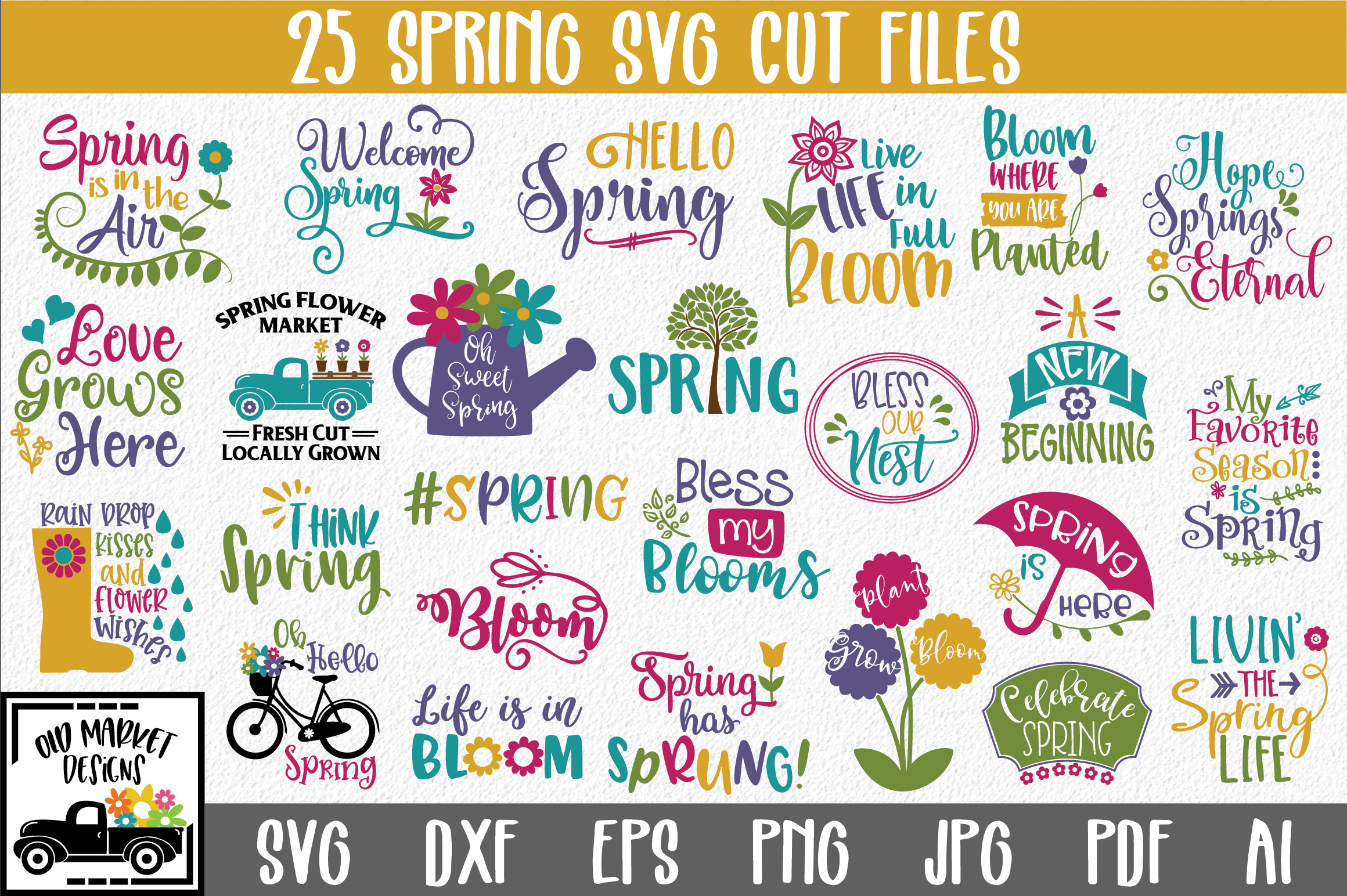 Download Free Spring Bundle Graphic By Oldmarketdesigns Creative Fabrica for Cricut Explore, Silhouette and other cutting machines.
