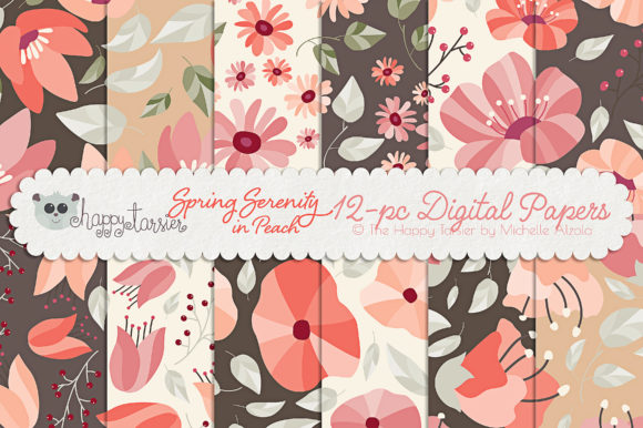 Print on Demand: Spring Serenity in Peach Graphic Patterns By Michelle Alzola