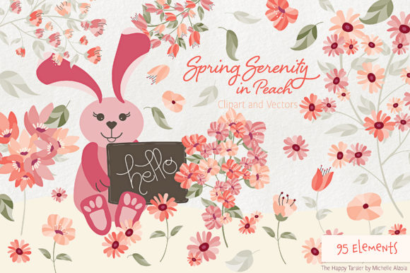 Print on Demand: Spring Serenity in Peach Graphic Illustrations By Michelle Alzola