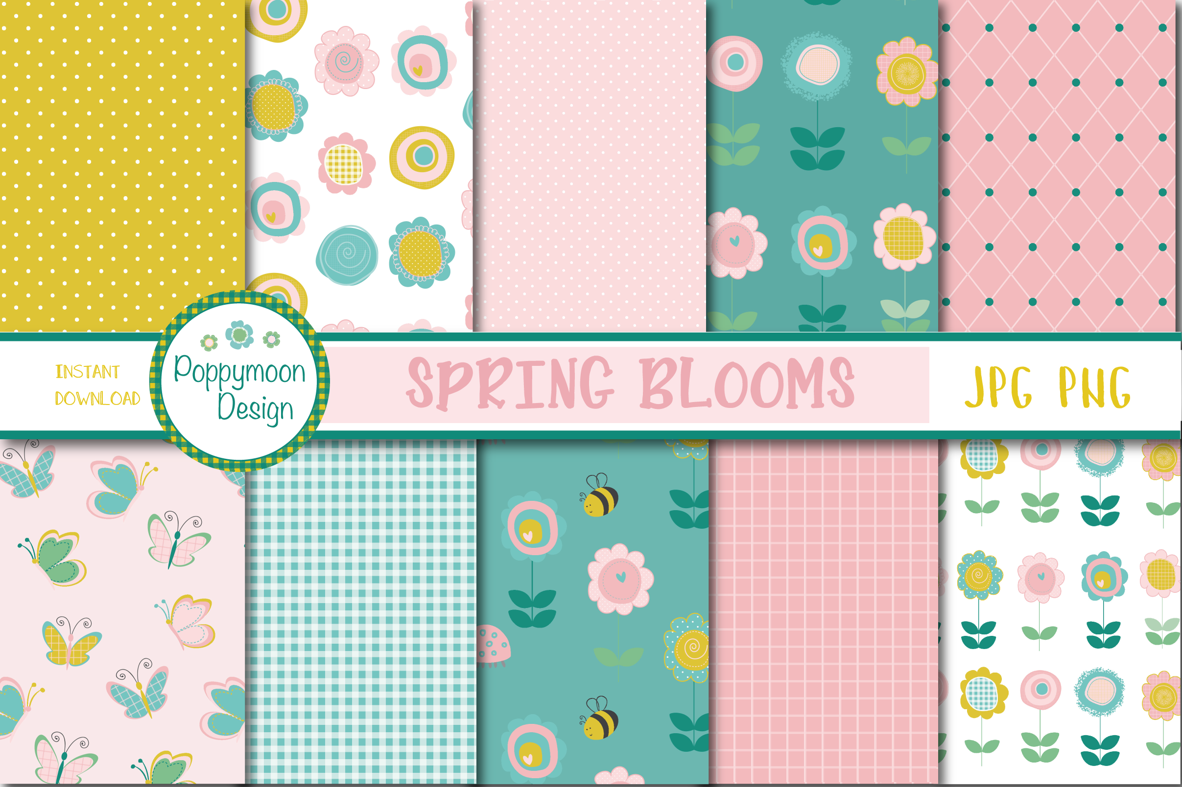 Download Free Spring Blooms Paper Graphic By Poppymoondesign Creative Fabrica for Cricut Explore, Silhouette and other cutting machines.