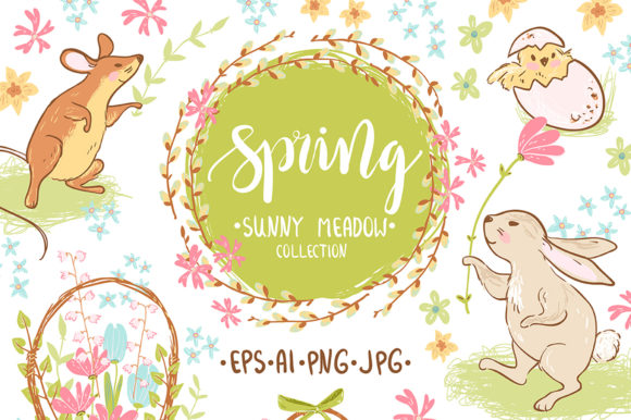 Spring Meadow Graphic Set Graphic Illustrations By dinkoobraz