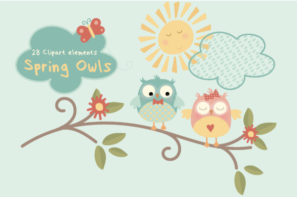 Print on Demand: Spring Owls Graphic Illustrations By poppymoondesign