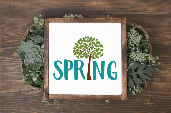 Spring with Tree SVG Cut File Spring SVG Graphic By oldmarketdesigns Image 3