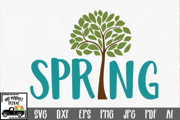 Spring with Tree SVG Cut File Spring SVG Graphic By oldmarketdesigns Image 1