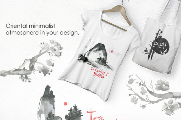 Download Free Sumi E Japanese Ink Painting Graphic By Dinkoobraz Creative for Cricut Explore, Silhouette and other cutting machines.