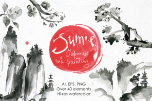 Sumi-e. Japanese Ink Painting. Graphic By dinkoobraz