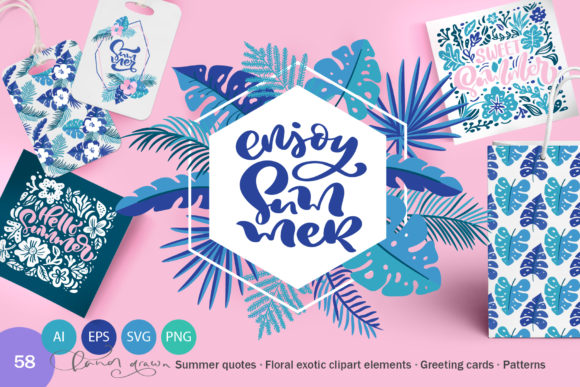 Summer Exotic Palm Bundle Graphic Illustrations By Happy Letters