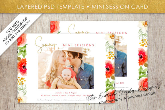 Print on Demand: Summer Mini Photo Session Card Template Design #43 Graphic Print Templates By daphnepopuliers