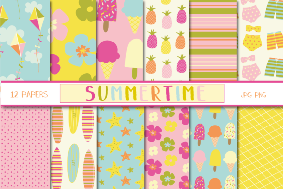 Print on Demand: Summertime Papers Gráfico Moldes Por poppymoondesign