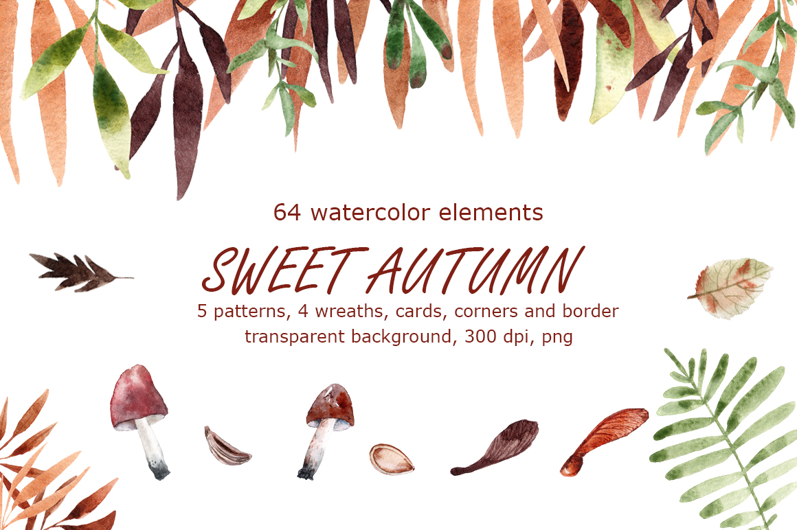 Download Free Sweet Autumn Watercolor Clip Art Set Graphic By Mashamashastu for Cricut Explore, Silhouette and other cutting machines.