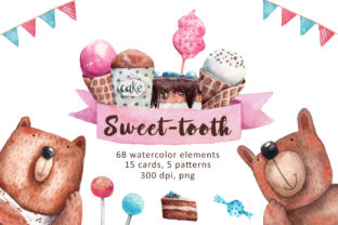 Sweet-Tooth - Watercolor Clip Art Set Graphic Illustrations By mashamashastu