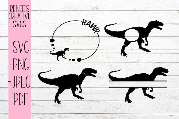 Download Free T Rex Monogram Bundle Graphic By Reneescreativesvgs Creative for Cricut Explore, Silhouette and other cutting machines.