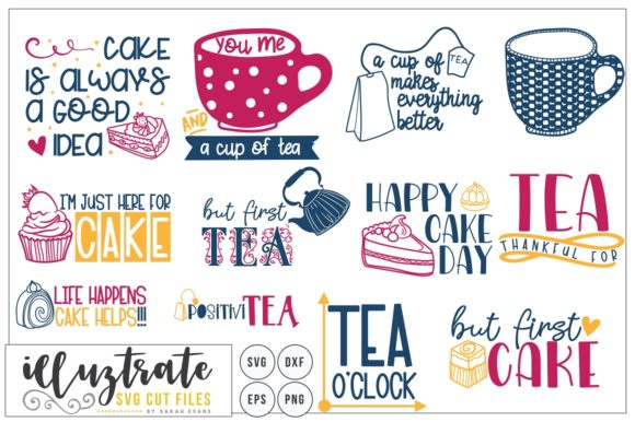 Print on Demand: Tea and Cake Quote Bundle Graphic Crafts By illuztrate - Image 2
