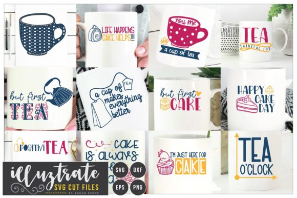 Print on Demand: Tea and Cake Quote Bundle Graphic Crafts By illuztrate