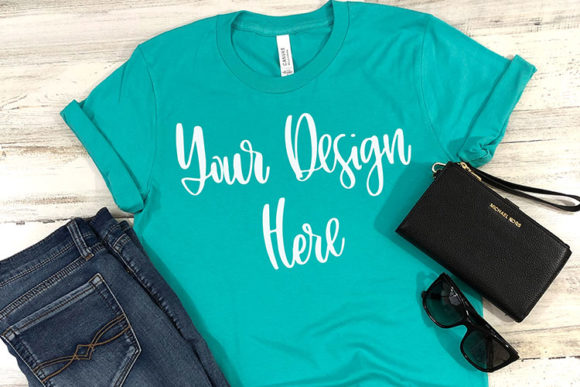Print on Demand: Teal Styled Unisex T-Shirt Mockup Photo Graphic Product Mockups By boecustomdesign