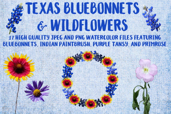 Texas Bluebonnets & Wildflowers Graphic Objects By BellaUniquePrintique