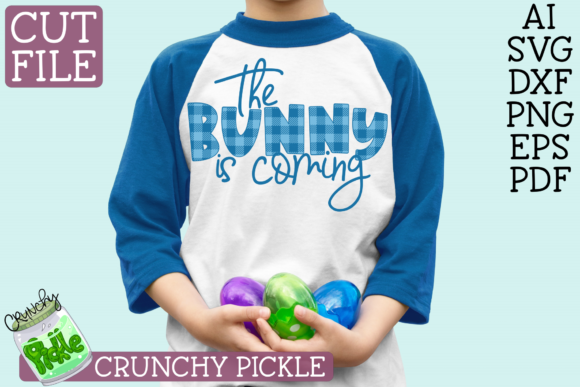 The Bunny is Coming Easter Phrase Buffalo Plaid Graphic Crafts By Crunchy Pickle - Image 1