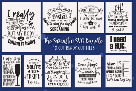 Print on Demand: The Sarcastic Bundle Graphic Crafts By Nerd Mama Cut Files