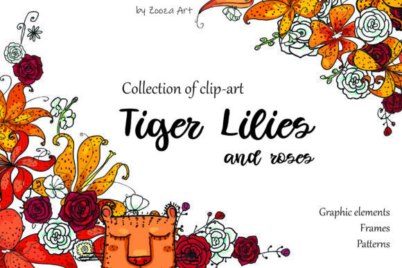 Print on Demand: Tiger Lilies & Roses Gráfico Objetos Por Zooza Art