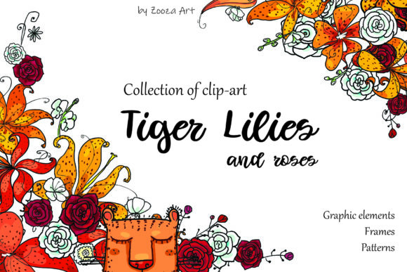 Print on Demand: Tiger Lilies & Roses Graphic Objects By Zooza Art - Image 1