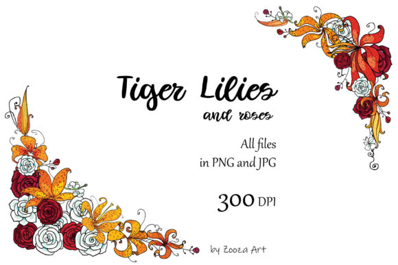 Print on Demand: Tiger Lilies & Roses Graphic Objects By Zooza Art - Image 4