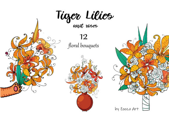 Print on Demand: Tiger Lilies & Roses Graphic Objects By Zooza Art - Image 8