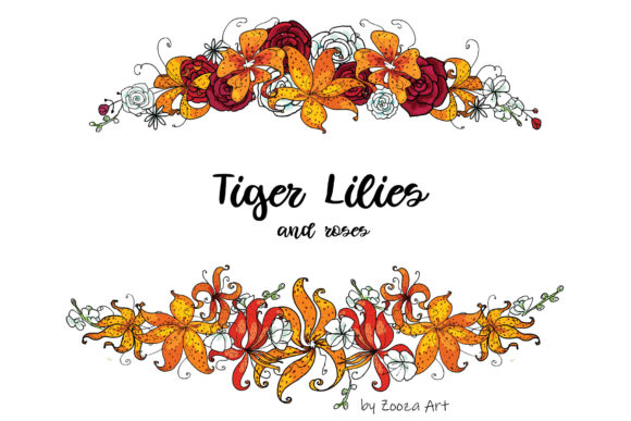 Print on Demand: Tiger Lilies & Roses Graphic Objects By Zooza Art - Image 9