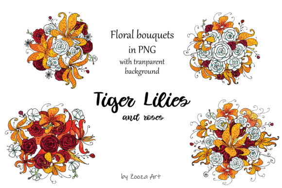 Print on Demand: Tiger Lilies & Roses Graphic Objects By Zooza Art - Image 10